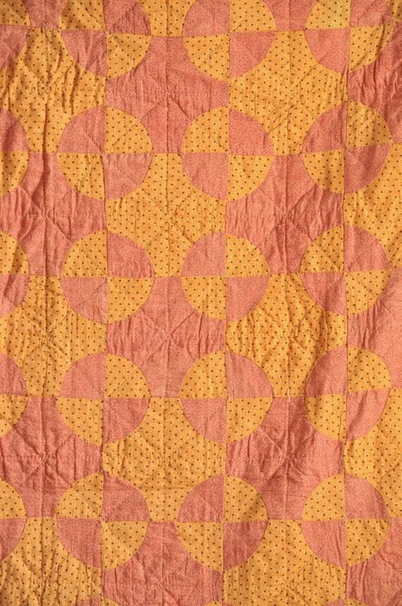 Vintage  Antique Quilt HandmadeRED and Orange Circle Checks