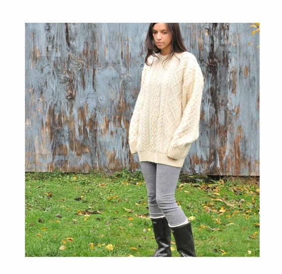 Vintage Cable Knit Sweater Off White Irish Boyfriend Sweater