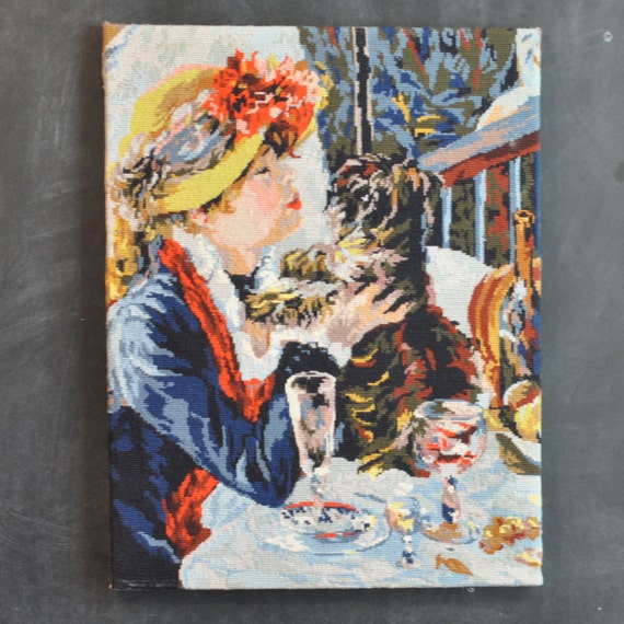 Vintage Renoir Needlepoint Wall Tapestry Luncheon at the Boating Party