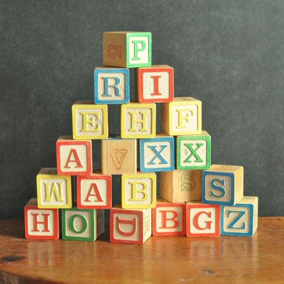 Vintage Alphabet Blocks set of 22 Antique Learning Toy