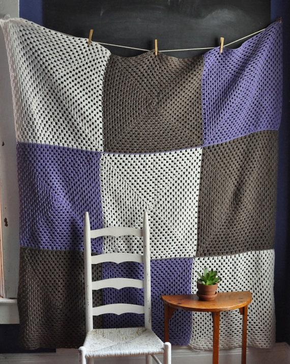 Vintage Afghan Blanket Big Squares of Purple white and Brown Metallic Sheen