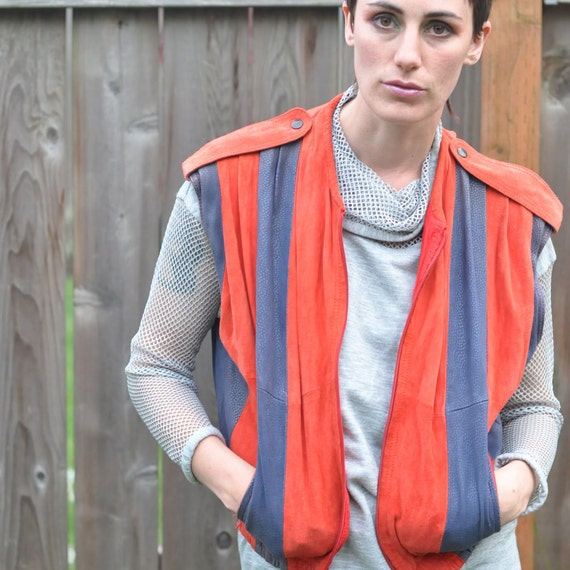 Vintage 80s Suede Leather Vest Italian Designer In Red and Blue