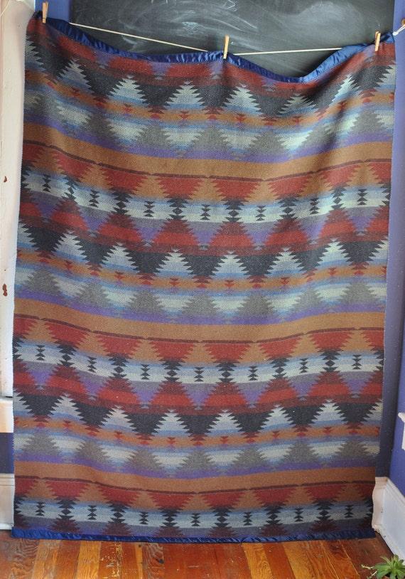 Vintage Southwest Style Wool Camp Blanket in Dark Blue