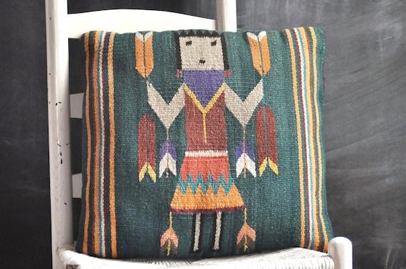 Vintage Woven Tribal Pillow Throw Pillow Southwest Tapestry Throw Cushion