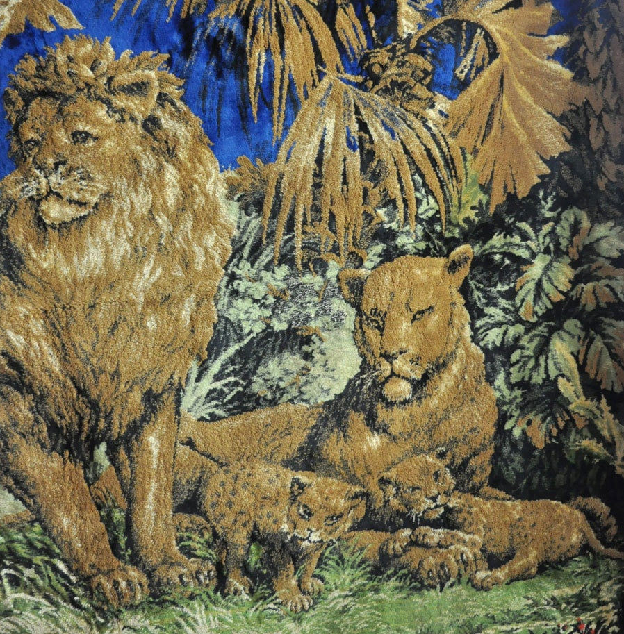 Vintage 70s Tapestry Wall Hanging Or Rug Lions In The Jungle