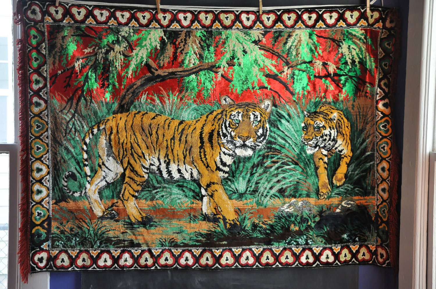 Vintage 70s Tapestry Wall Hanging Or Rug Jungle Tigers Red