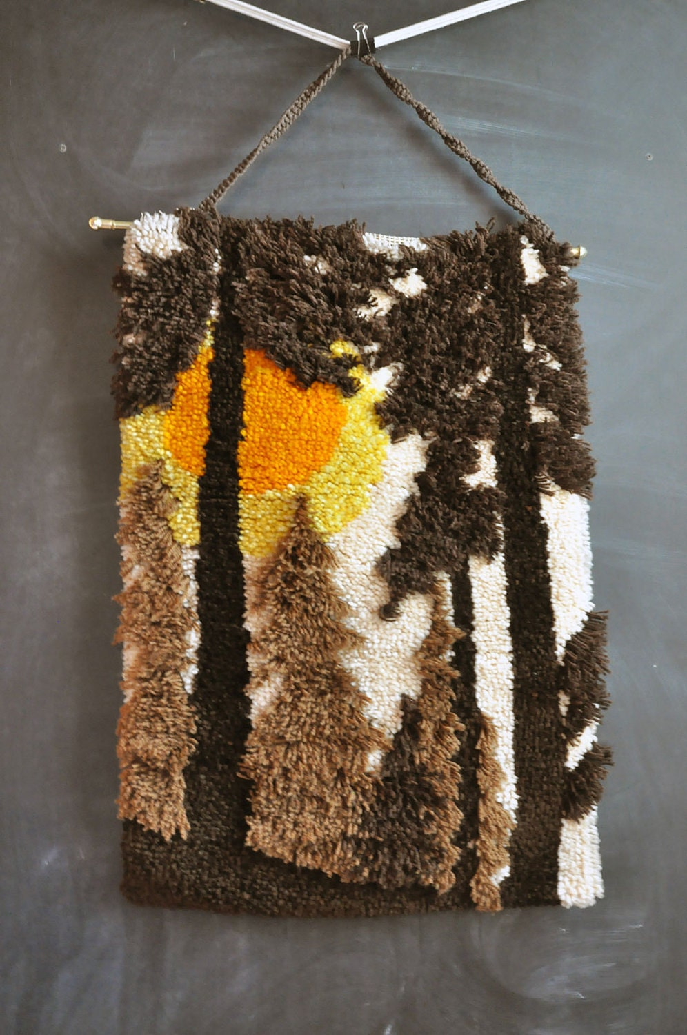 Vintage Latch Hook Rug Wall Art Handmade 70s Forest Trees At