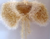 Fun Fur Golden Color Crochet Shoulder Shawl Free Shipping.