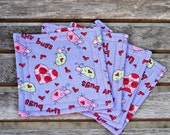 Love Bug - Reversible fabric coasters  **Dream Animal Rescue listing**