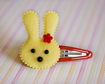 Fuzzy bunny snap clip for hair