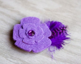 Bitty Burdy purple flower hair clip