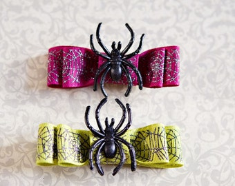 Spiderweb bows hair clips
