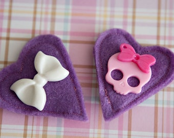 Heart felt - hair clips  **Dream Animal Rescue listing**