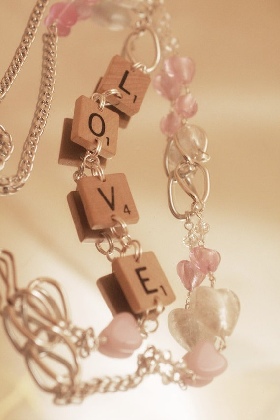 "SCRABBLE Tile Necklace or Work ID Lanyard ""LOVE""- Pink Glass Hearts, Crystal, Glass, Silver Chain, Free Shipping"
