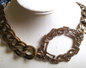 Vintage Brass Chain Choker with Miriam Haskell Stamping