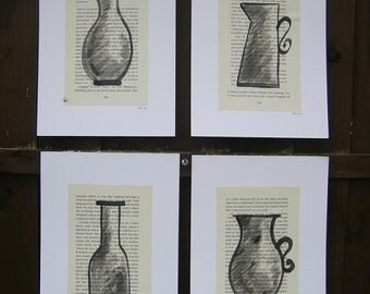 Inky Vessel Sketches - four OOAK figurative drawings on vintage book pages