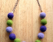 Purple and Green felt ball necklace- CUSTOM MADE for Katrina