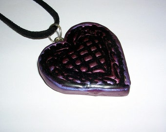 Polymer Clay, Pearlex and Resin Heart Necklace