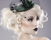 Latex Floral Hat with Veil