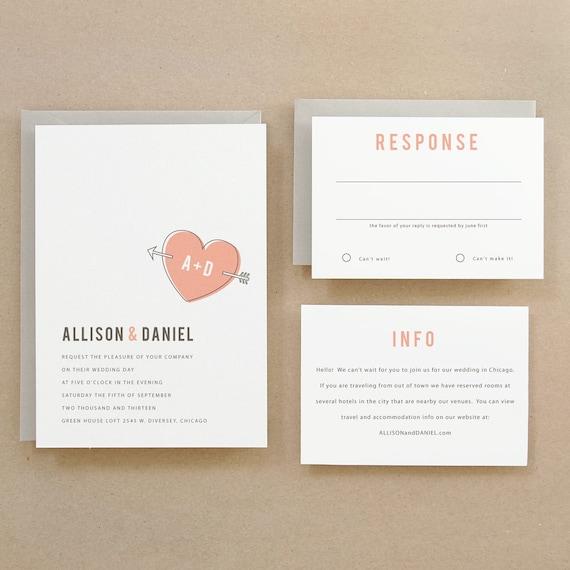 INSTANT DOWNLOAD - Heart - DIY Printable Wedding Invitation Template