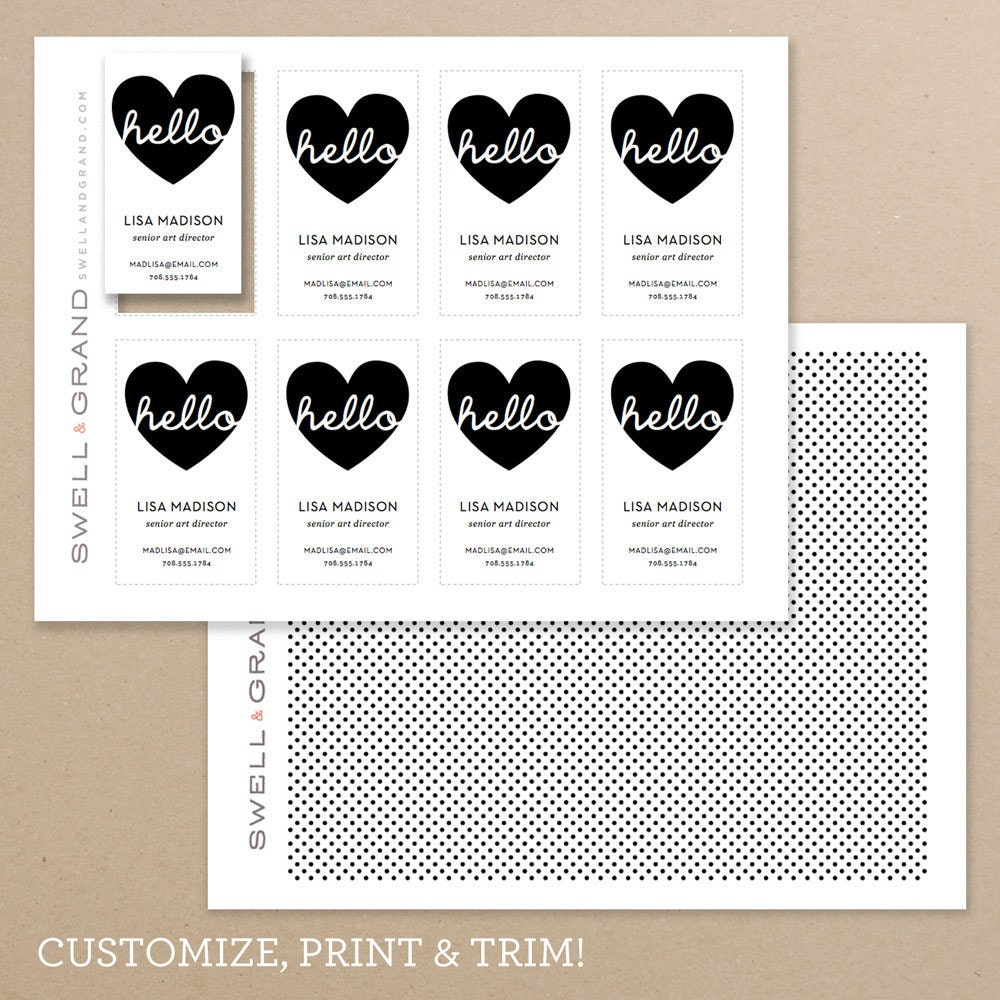 INSTANT DOWNLOAD Hello DIY Printable Business Card