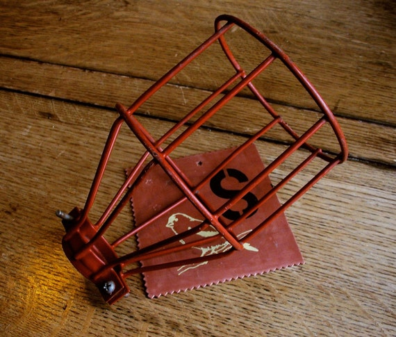 Vintage Industrial Upcycle wire cage, red rubber coated