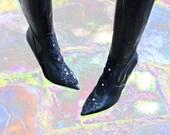 Goth Rock Knee Boots w 4 Inch Spike Heel // Steampunk Sexy Lace Swarovski Crystal Rhinestones // Stretch Boot // Nine West Size 9 M