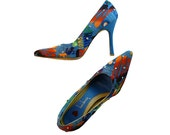 Sky High Retro Stilettos by Luichiny // Bright Graphics on Blue // Embellished w Colorful Swarovski Rhinestones // Size 6 1/2 to 7 Vegan