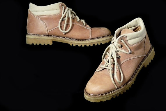 Lace Up Ankle Boots Desert Tan Leather Canvas Unique Speed Lace  // Vintage Grunge Geek Chic Hiking // Size 8 M Brazil