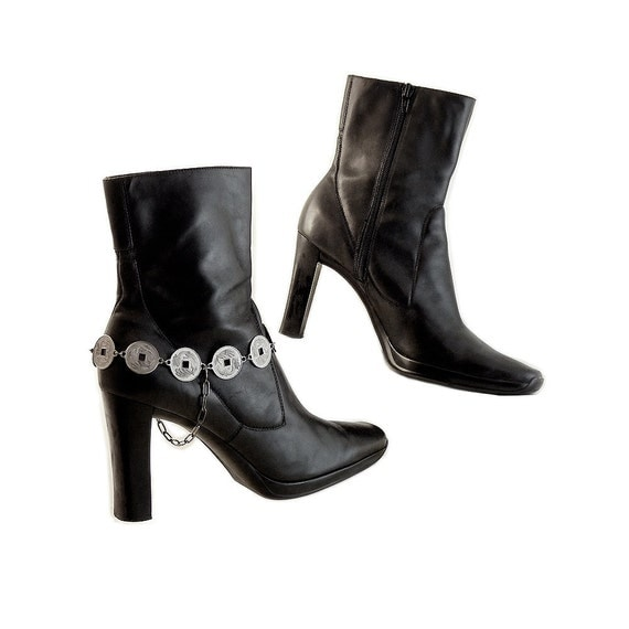 Special Listing for Diana  Sexy  Black High Heel  Boots with Handmade Boot Bracelets  Chinese Coins Gunmetal Pewter //10 M All Leather