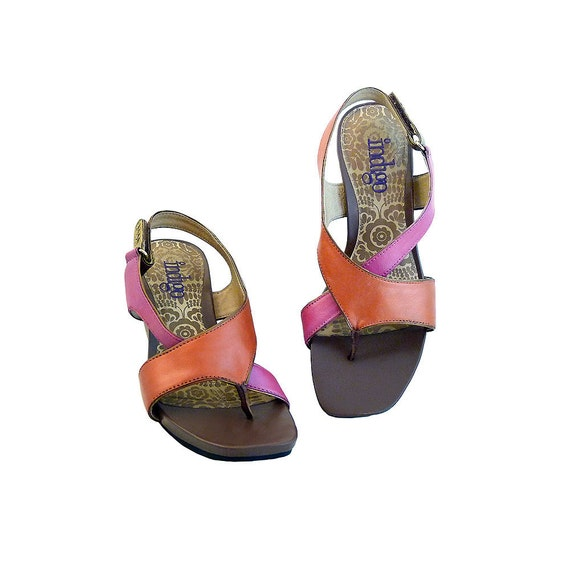 Color Block, 3 1/2 Inch Wedge Sandals Orange and Pink // Indigo by Clarks  Size 8 1/2 M // Hand Painted Leather // Boho Resort