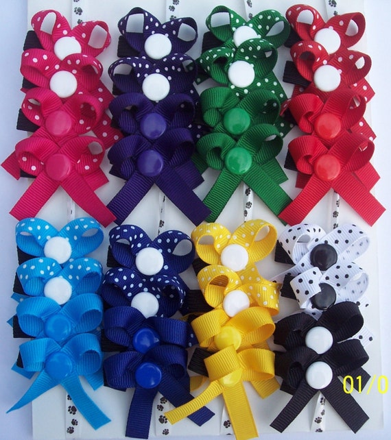 SNAP IN Dog Grooming Bows Set of 16 pairs Solids and Polka Dots