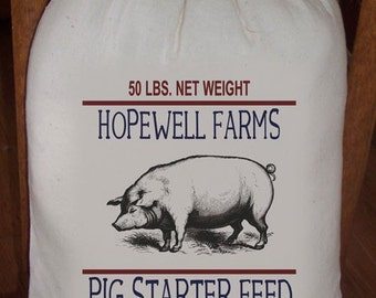 10 X 16 Primitive Feed Sack Hopewell Farms Pig Starter Feed Gift Sack, Cotton Sack, Novelty Sack