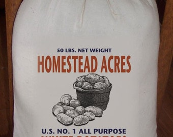 Feed Sack, Flour Sack Bag, Potatoes, Prim Decor, Country Decor, Muslin Bag, Vintage Feed Sack, Cotton Sack, Homestead Acres White Potatoes