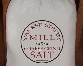 Feed Sack, Flour Sack Bag, Prim Decor, Salt Sack, Country Decor, Muslin Bag, Vintage Sack, Cotton Sack, Yankee Street Mill Coarse Grind Salt