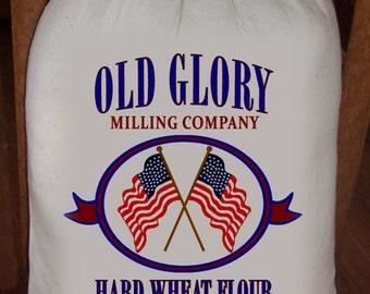 Feed Sack, Flour Sack Bag, Prim Decor, Flag Sack Decor, Muslin Bag, Patriotic Vintage Feed Sack, Cotton Sack, Old Glory Hard Wheat Flour