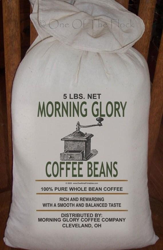 Feed Sack, Flour Sack Bag, Prim Decor, Coffee Sack, Country Decor, Muslin Bag, Vintage Feed Sack, Cotton Sack, Morning Glory Coffee Beans