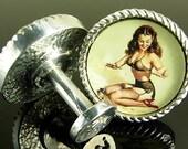 C21P NEW Cufflinks Vintage Calendar Pin-up Girl Lingerie Stockings FREE WORLDWIDE SHIPPING