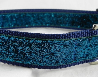 Turquoise Blue Metallic Sparkle Dog Collar
