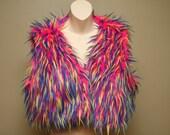 Bubble Gum Rave Furry Vest - Fully Reversible UV Reactive