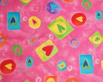 PINK with MULTI-COLORED Hearts  -  .5 yard   -  3.00