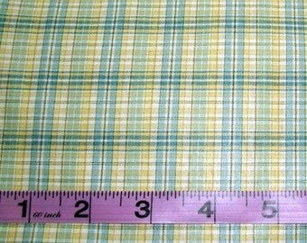 WAVERLY BLUE, YELLOW AND WHITE PLAID  FABRIC REMNANT