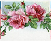 DIGITAL Download, PATRIOTIC, Rose, Roses, Flower, Summer, Postcard, Old, Antique, American, Banner, Red, White, Blue, Pink, Green
