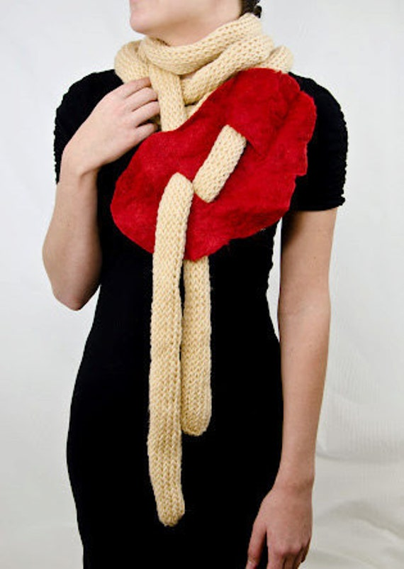 Noodle Scarf with Felted Sauce, Limited Edition
