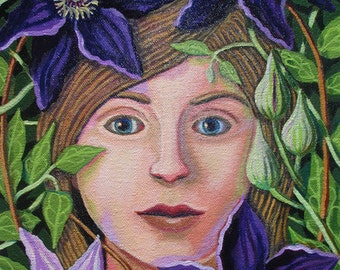 Woman Within the Purple Clematis ORIGINAL PAINTING flower spirit oil on canvas small 12x9 beautiful gift for gardener - Free U.S. shipping