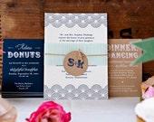 Beach Wedding Invitation, Casual, Nautical, Navy, Dot, Wave, Scallop, Kraft, Blue, Modern, Formal, Letterpress