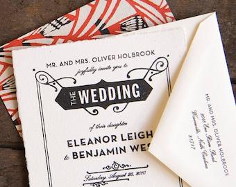 Gatsby Wedding Invitation, Vintage Wedding Invitation, Black and White Wedding Invitation, Art Deco Wedding Invitation, Art Nouveau