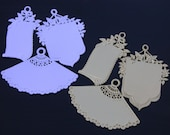 WHITE Set of 3 ASSORTED GIFT TAGS heavy stock die-cut embossed Dresdens from Germany