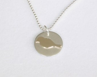 Bird Pendant, Gold and Silver Charm Necklace, Robin Silhouette