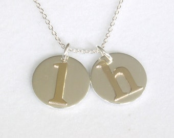 Personalized Initial Charms, Gold and Silver Necklace